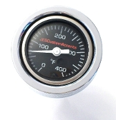 "18-P Softail  ""Blk Face OIL Filled"" Temp Gauge1.4OD"